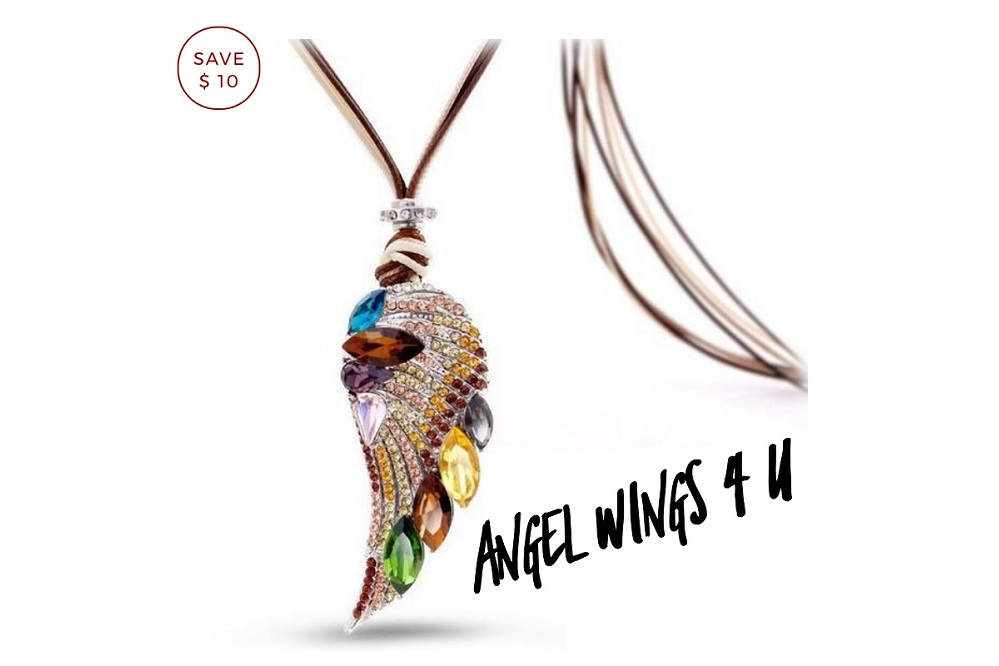 Stylish & Eye-Catching Angel Wing Long Necklace On Big Discount !!