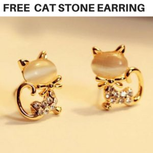 Get beautiful cat shaped stone crystal stud earrings free!