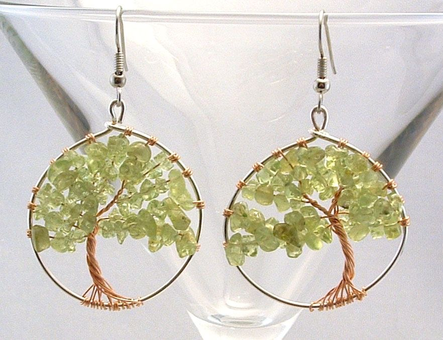 Trees of Life peridot earrings