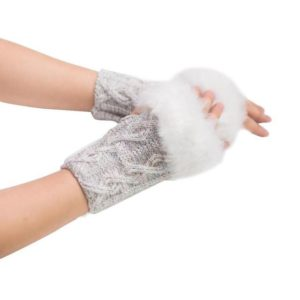 Warm and Stylish Faux Rabbit Fur Knitted Wrist fingerless Gloves