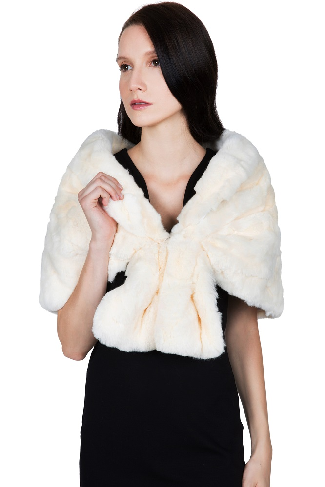 Elegant and stylish OBURLA Women's Rex Rabbit Fur Cape with Collar