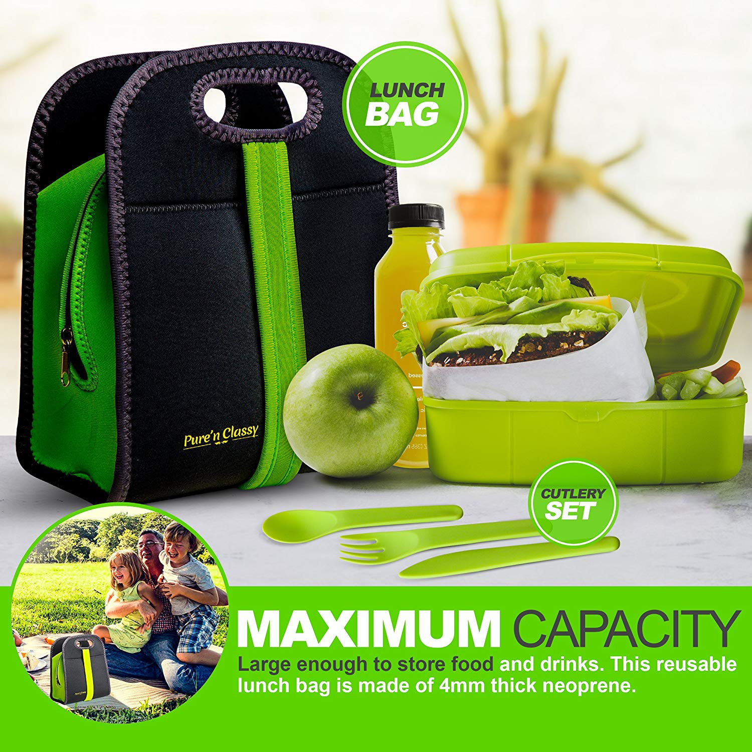 Easy to carry, useful and reusable neoprene lunch boxes