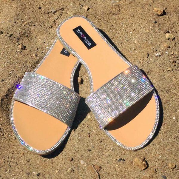 Lemonade Crystal Cinderella Elegance Flip Flops
