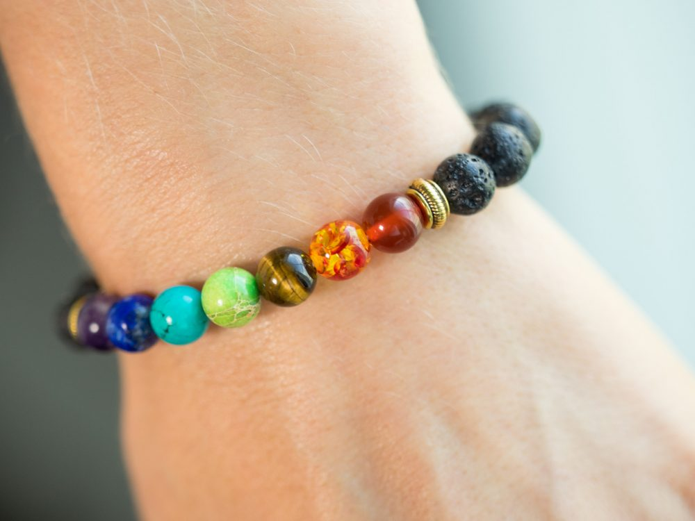 Lava Bead Mala Bracelet with 7 Chakra Authentic Stones