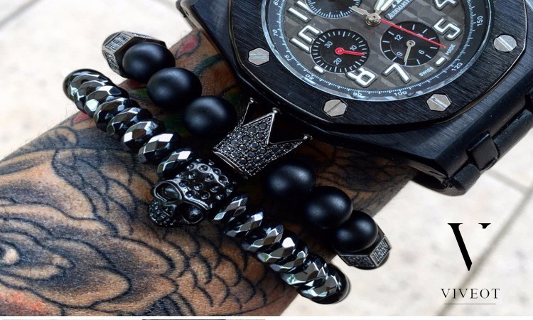 Stylish Beaded, Leather and Titanium Bracelets