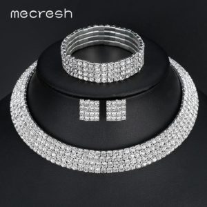 Shimmering crystal silver jewelry set