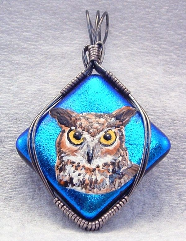 Owl on Dichroic glass
